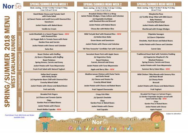 thumbnail of West Earlham Jnr – Spring Summer Menu 2018 pdf (1)