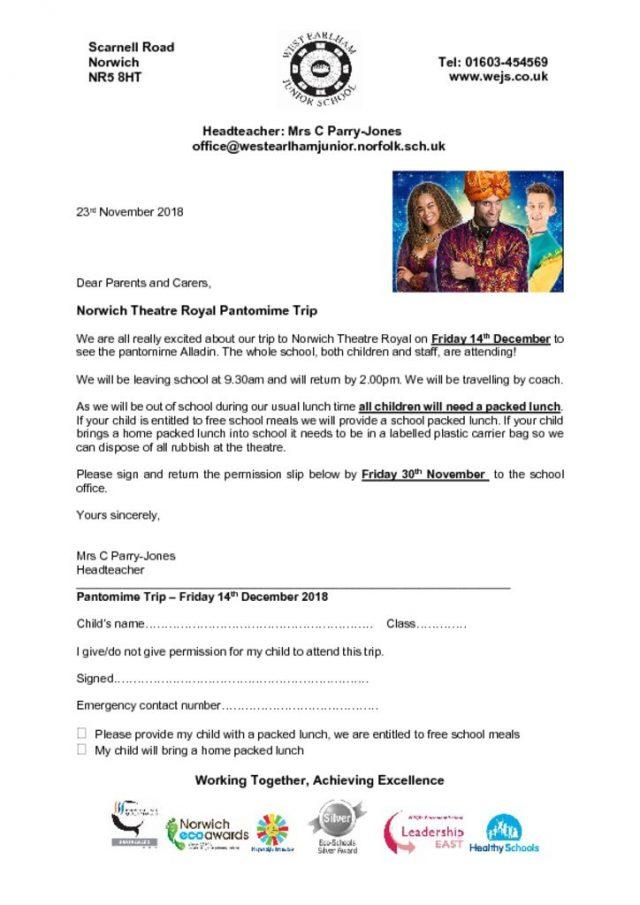 thumbnail of Theatre Royal letter Alladin 2018